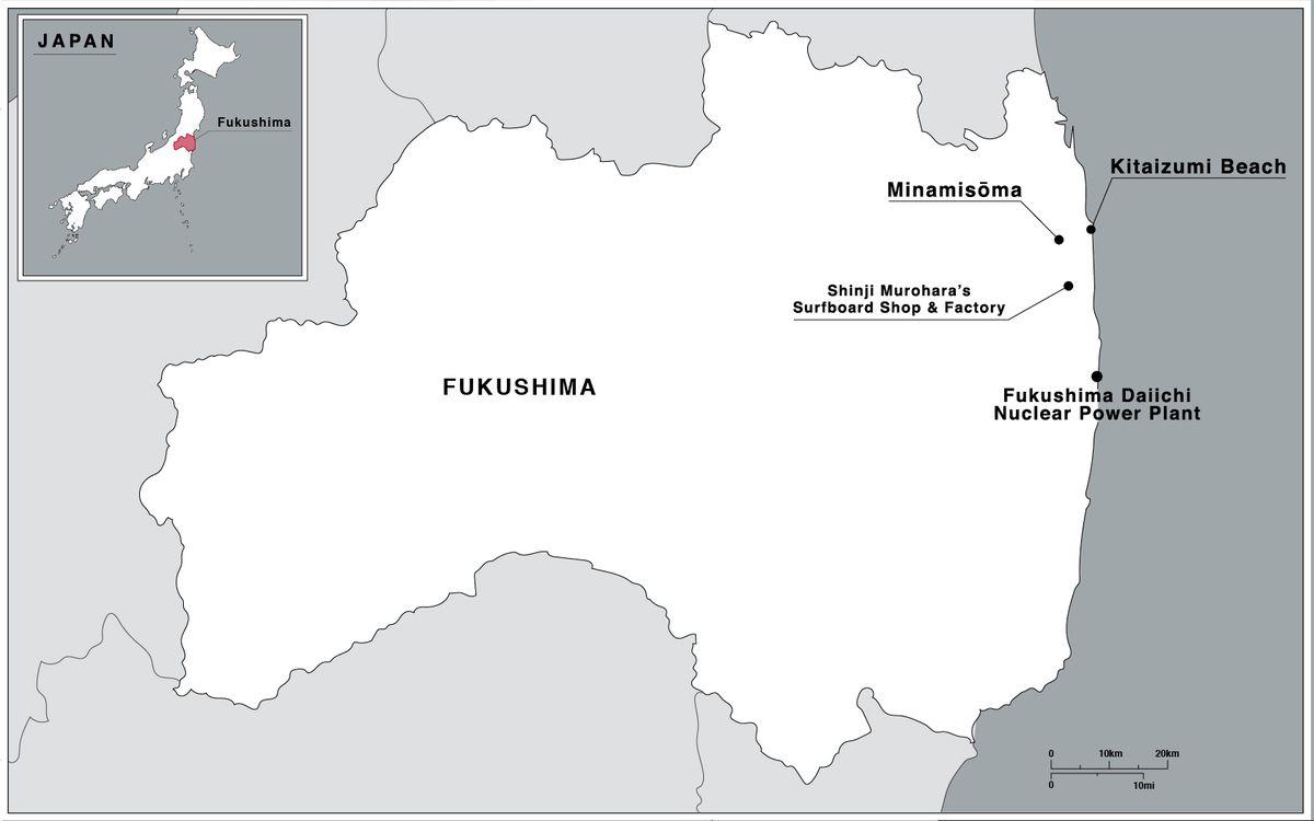 A map of Fukushima prefecture showing the locations of Minamisoma City, Kitaizumi Beach, Shinji Murohara's surfboard factory and the Fukushima Daiichi nuclear power plant, all near the coast.