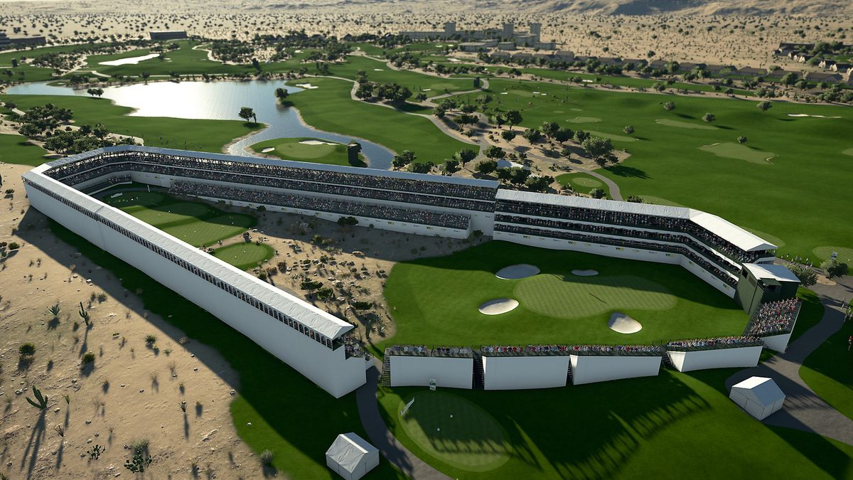 overhead shot of the unique 16th hole at TPC Scottsdale, which is fully enclosed by grandstands, in PGA Tour 2K21