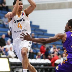 Salt Lake City Stars guard Marcus Paige (4) passes during the game against the Los Angeles D-Fenders at the Lifetime Activities Center in Taylorsville on Wednesday, Feb. 08, 2017.
