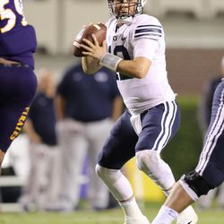 BYU quarterback Tanner Mangum scans the field for an open receiver in Saturday's matchup against ECU.