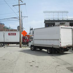 Truck traffic on Waveland at Clifton -
