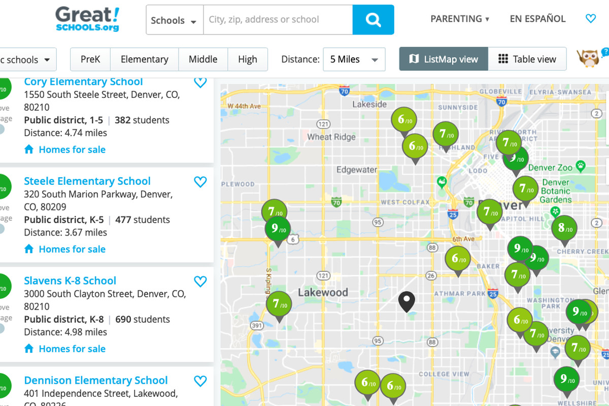 A screenshot from GreatSchools website, showing a search for schools with a Denver zip code.
