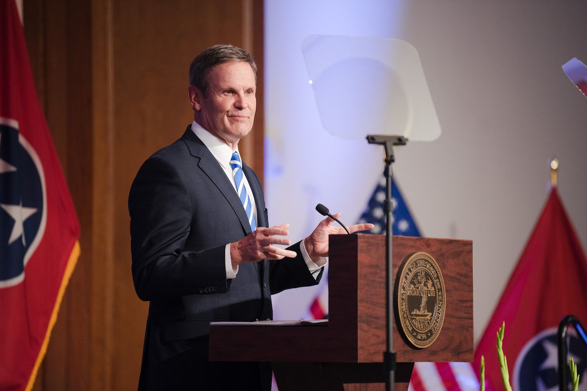 Gov. Bill Lee delivers a regional State of the State address in March in Memphis, one of two cities that will be affected by his education savings account plan.