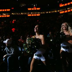 Jazz Dancers run onto the floor prior to the Utah Jazz and the Philadelphia 76ers playing at Vivint arena in Salt Lake City on Tuesday, Nov. 7, 2017.