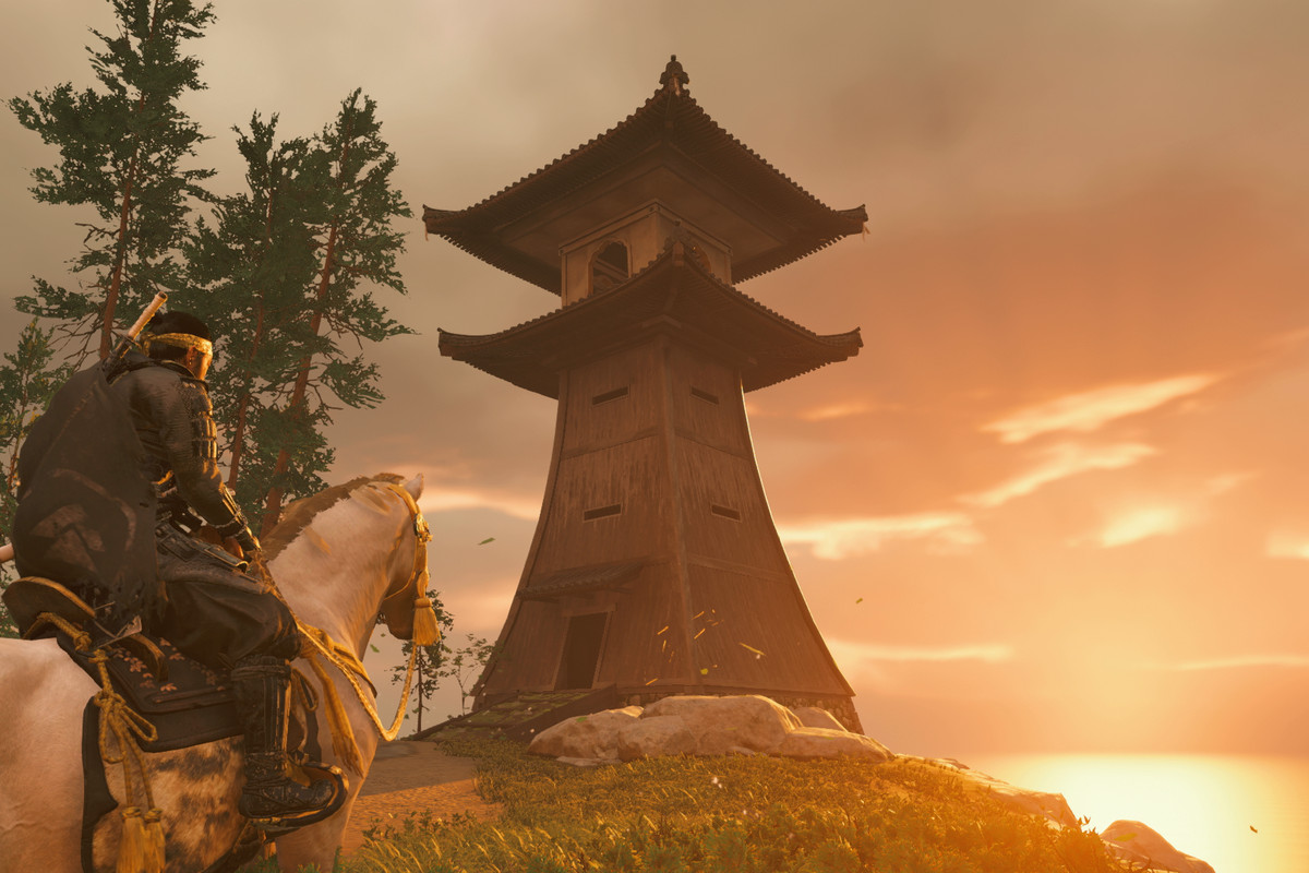 A lighthouse in Ghost of Tsushima in the sunlight