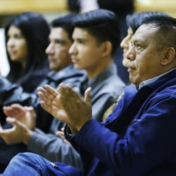 Tony Yapias applauds as Utah Latinos watch the live  announcement of President Obama's Executive Order at Centro Civico Mexicano in Salt Lake City, Thursday, Nov. 20, 2014. Yapias said Thursday's U.S. Supreme Court ruling halting Obama programs intended to protect millions of unauthorized immigrants from deportation is hurtful and disappointing.