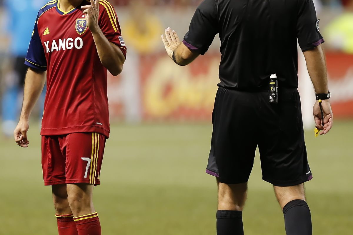 If RSL's Fabian Espindola can keep his emotions in check against Vancouver you could see him exploit gaps in their defense. (Photo by George Frey/Getty Images)
