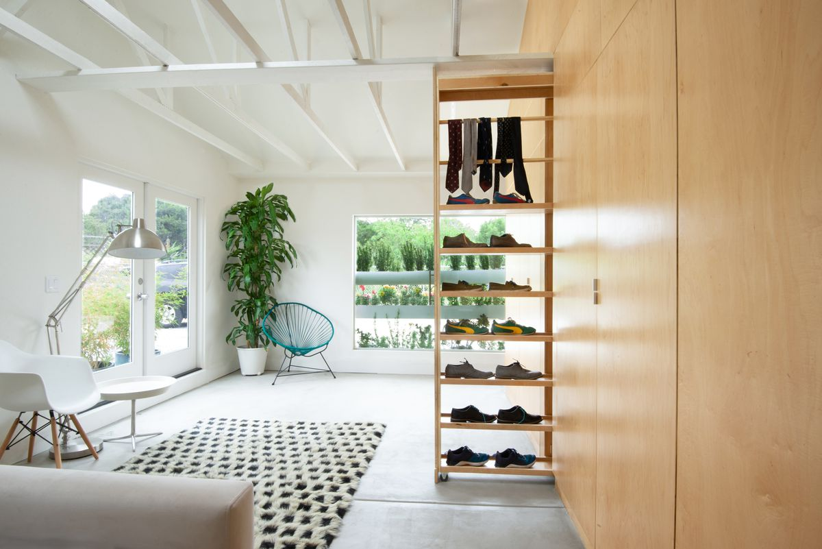 Room with pull-out closet.