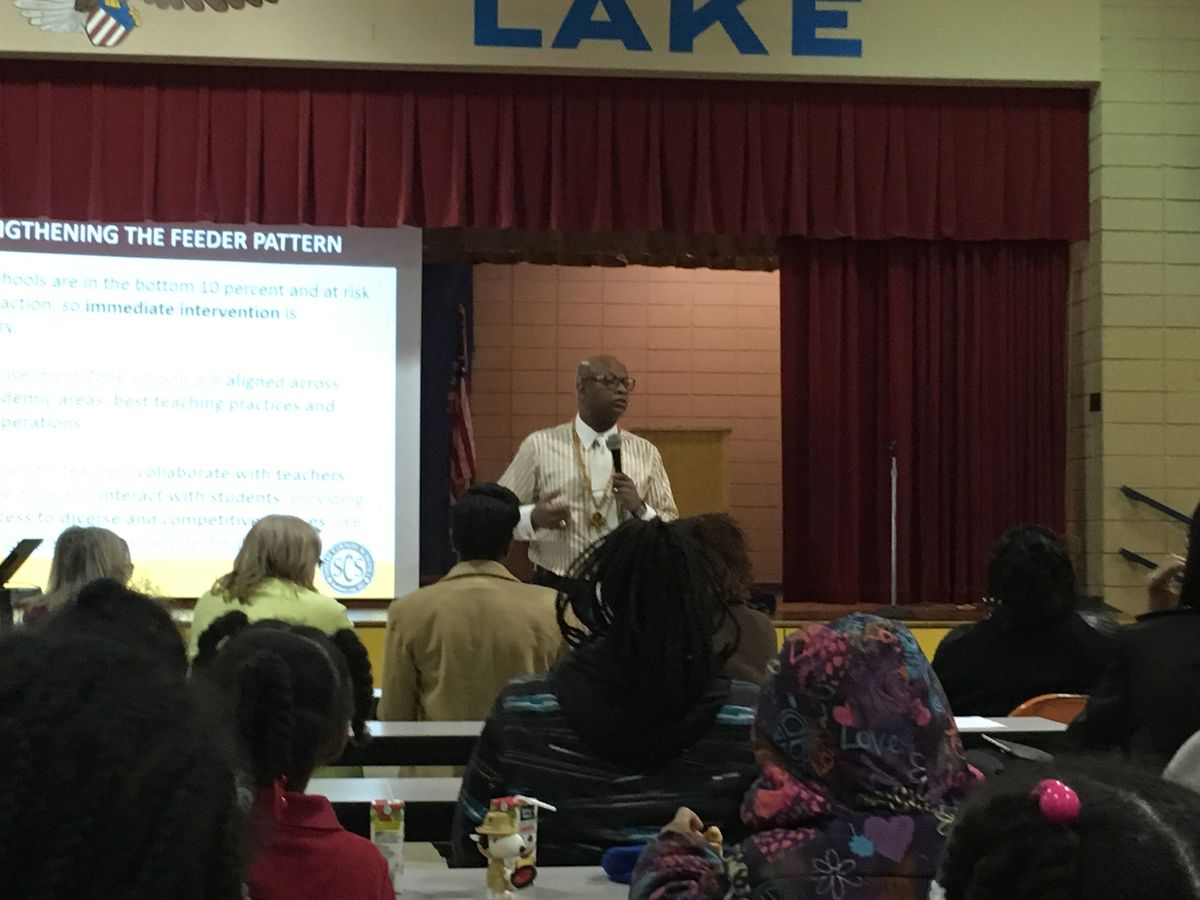 Vincent Hunter, principal of Whitehaven High School and leader of the Empowerment Zone, addresses Manor Lake Elementary parents.