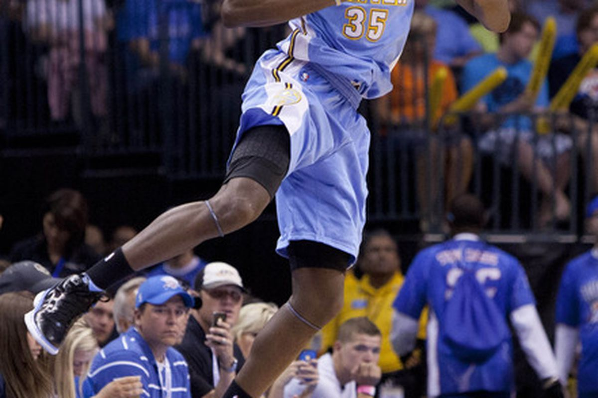April 25, 2012; Oklahoma City  OK, USA; Denver Nuggets forward Kenneth Faried (35) looks to pass the ball during the first quarter against the Oklahoma City Thunder at Chesapeake Energy Arena Mandatory Credit: Richard Rowe-US PRESSWIRE