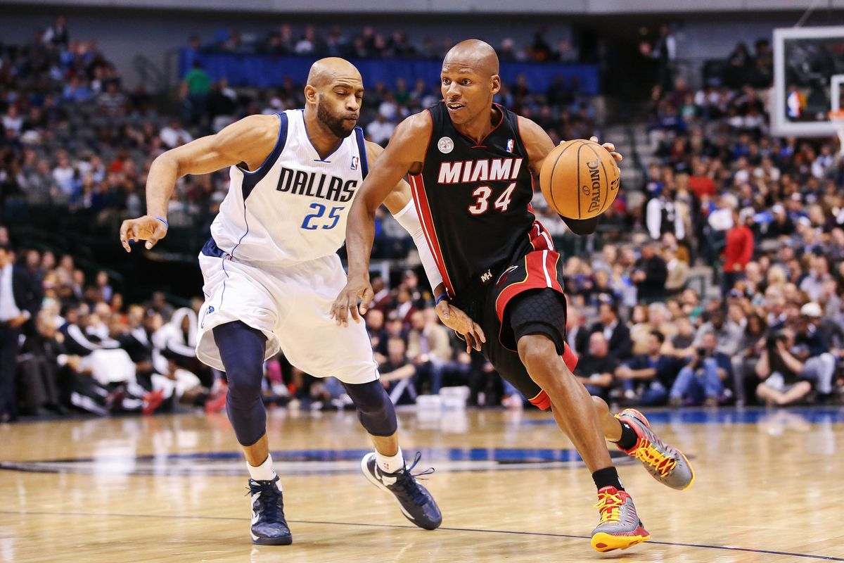 Ray Allen drives on Vince Carter