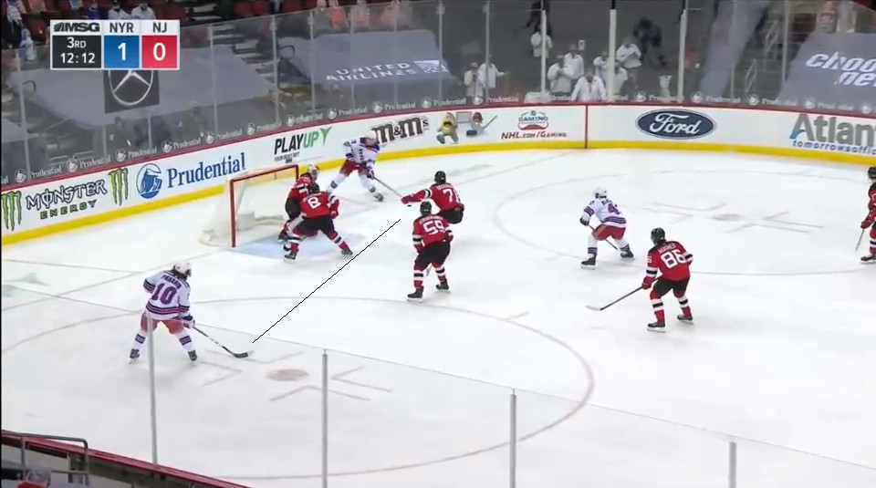 April 11: Artemi Panarin is another player one should not leave wide open.  Will Butcher was specifically highlighted for having his stick down outside of the passing lane.  Jonas Siegenthaler was the closest to it and was too late.