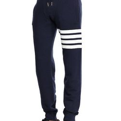 """<strong>Thom Browne</strong> Striped Leg Sweatpants in Navy, <a href=""""http://www.bergdorfgoodman.com/Thom-Browne-Cotton-Striped-Leg-Sweatpants-sweatpants/prod96810007___/p.prod?icid=&searchType=MAIN&rte=%252Fsearch.jsp%253FN%253D4294966910%2526_requestid%"""