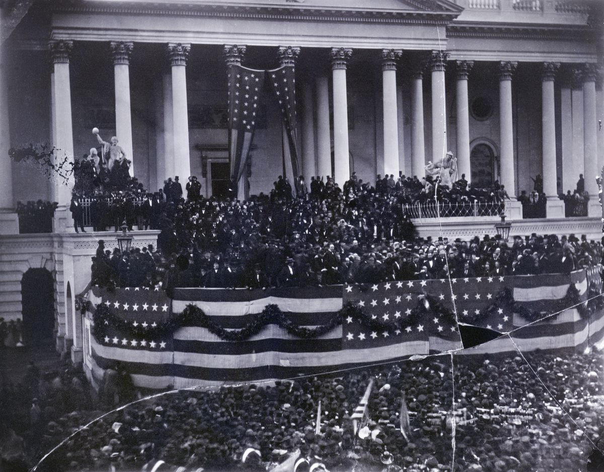 Ulysses Simpson Grant (1822–1885) is sworn in as president of the United States in 1869.