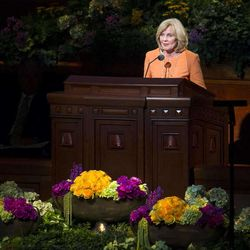 Young Women's General President, Sister Elaine S. Dalton speaks during the morning session of 183 annual General Conference of the Church of Jesus Christ of Latter Day Saints Saturday, April 6, 2013 inside the Conference Center.