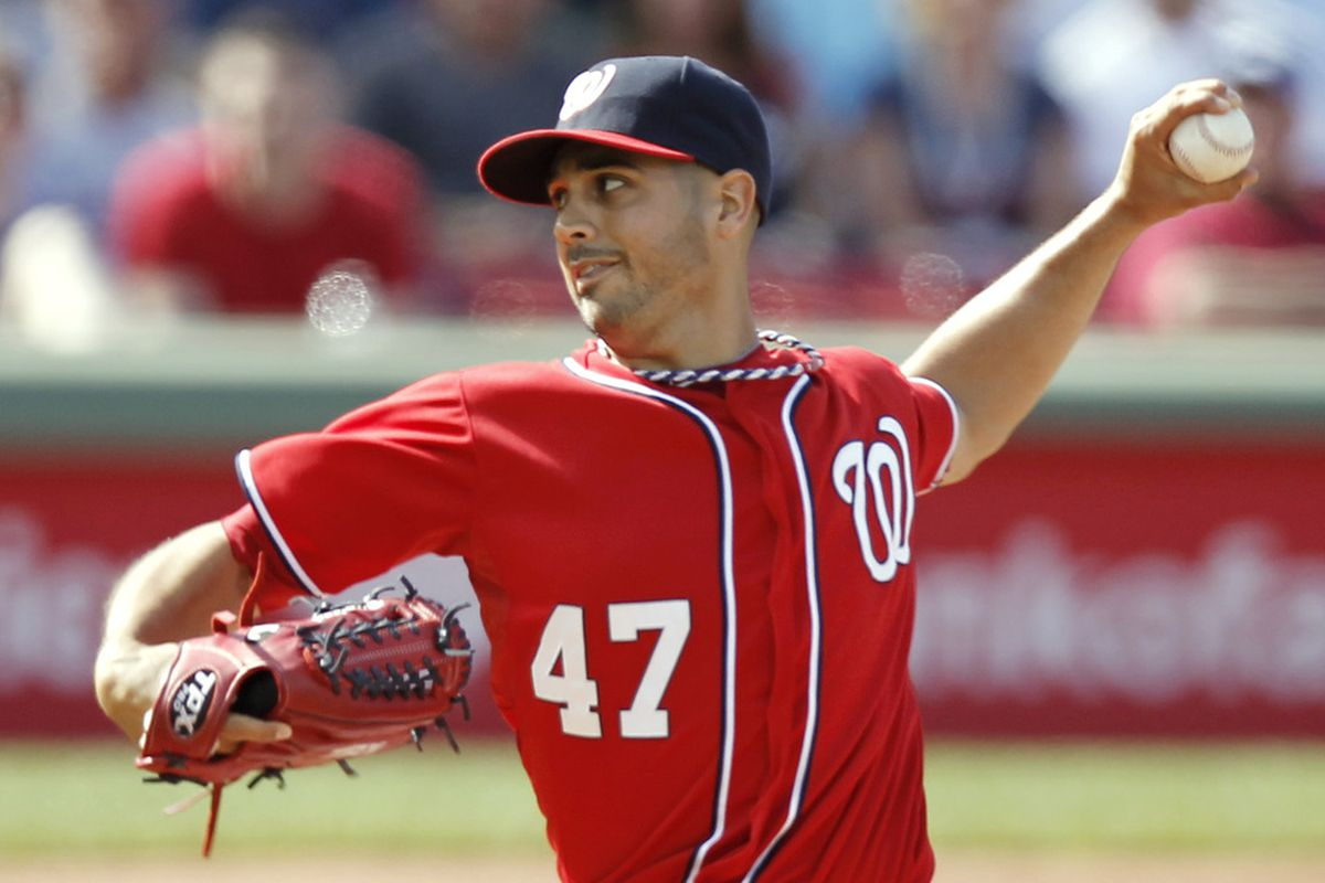 BOSTON, MA - JUNE 9:  Gio Gonzalez #47 of the Washington Nationals pitches against the Boston Red Sox during the first inning of interleague play at Fenway Park on June 9, 2012 in Boston, Massachusetts.  (Photo by Winslow Townson/Getty Images)