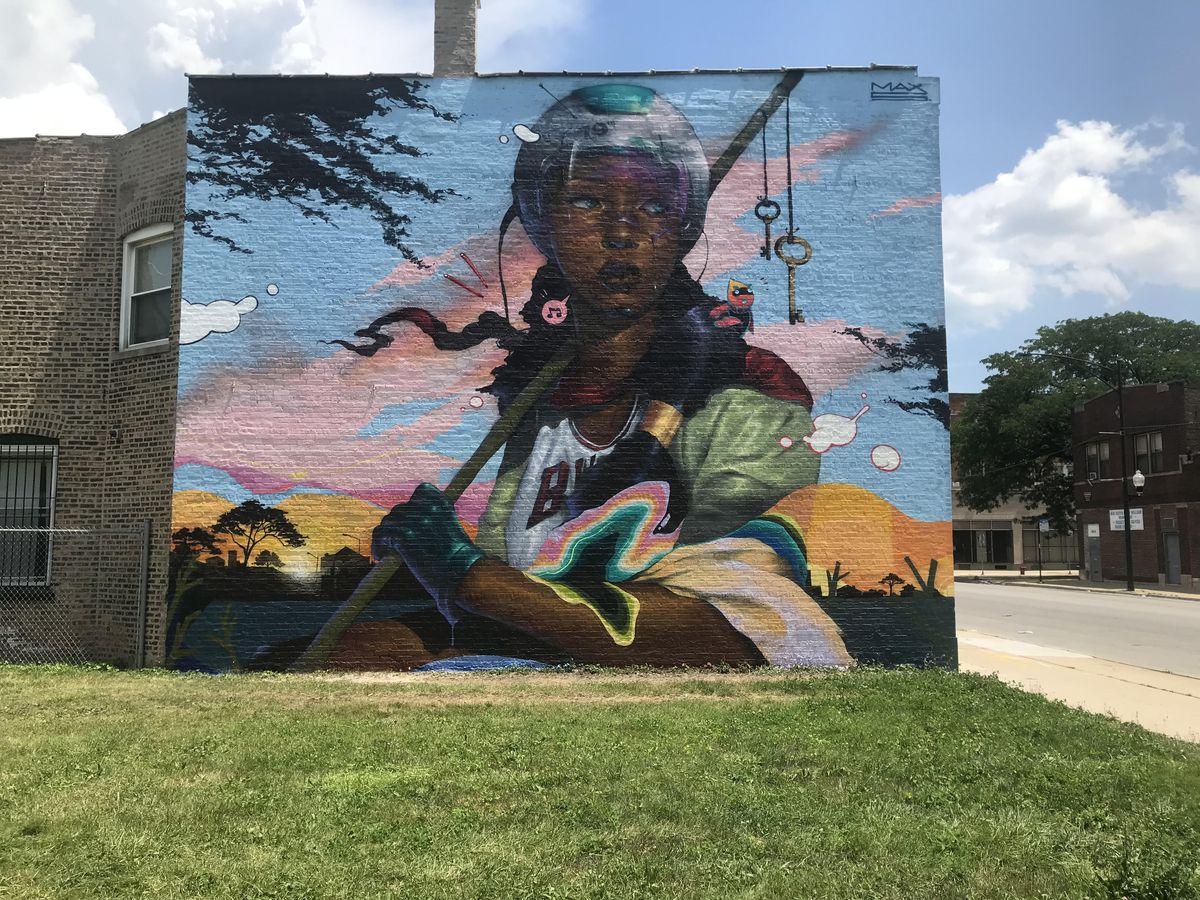 Uno de nuestros artistas favoritos de Chicago es Max Sansing, quien pintó este mural, que forma parte de una pintura de dos partes que hizo en la calle 79 con Kayla Mahaffey, titulada