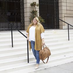 Tiered woven blouse in fresh white only at Target.com, $27.99; open shawl cardigan in brown butter heather, $29.99; skinny denim in snoop wash w/repair, $29.99