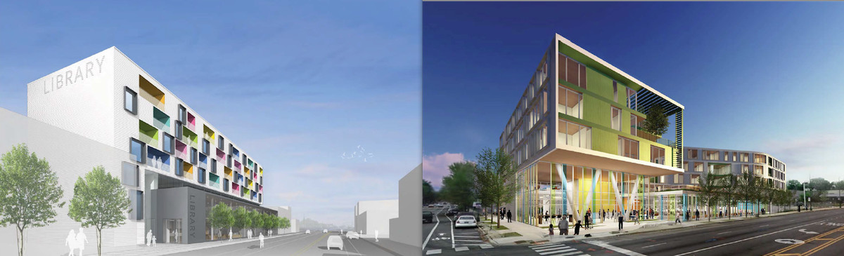 Concept designs for the new Independence (left) and Northtown branches of the Chicago Public Library, designed by architecture firms John Ronan Architects and Perkins+Will, respectively. | City of Chicago