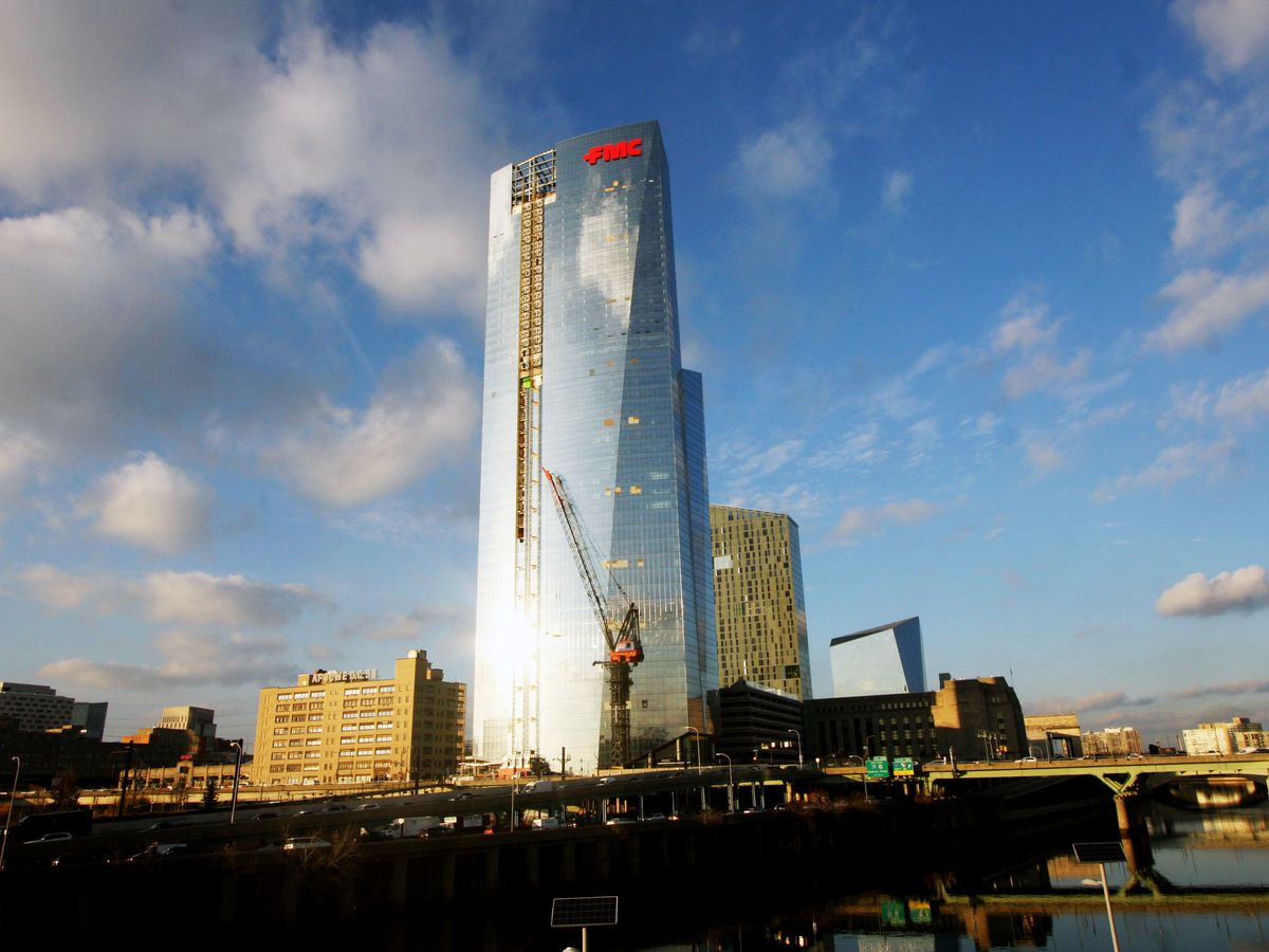 The exterior of the FMC Tower in Philadelphia. The facade is glass.