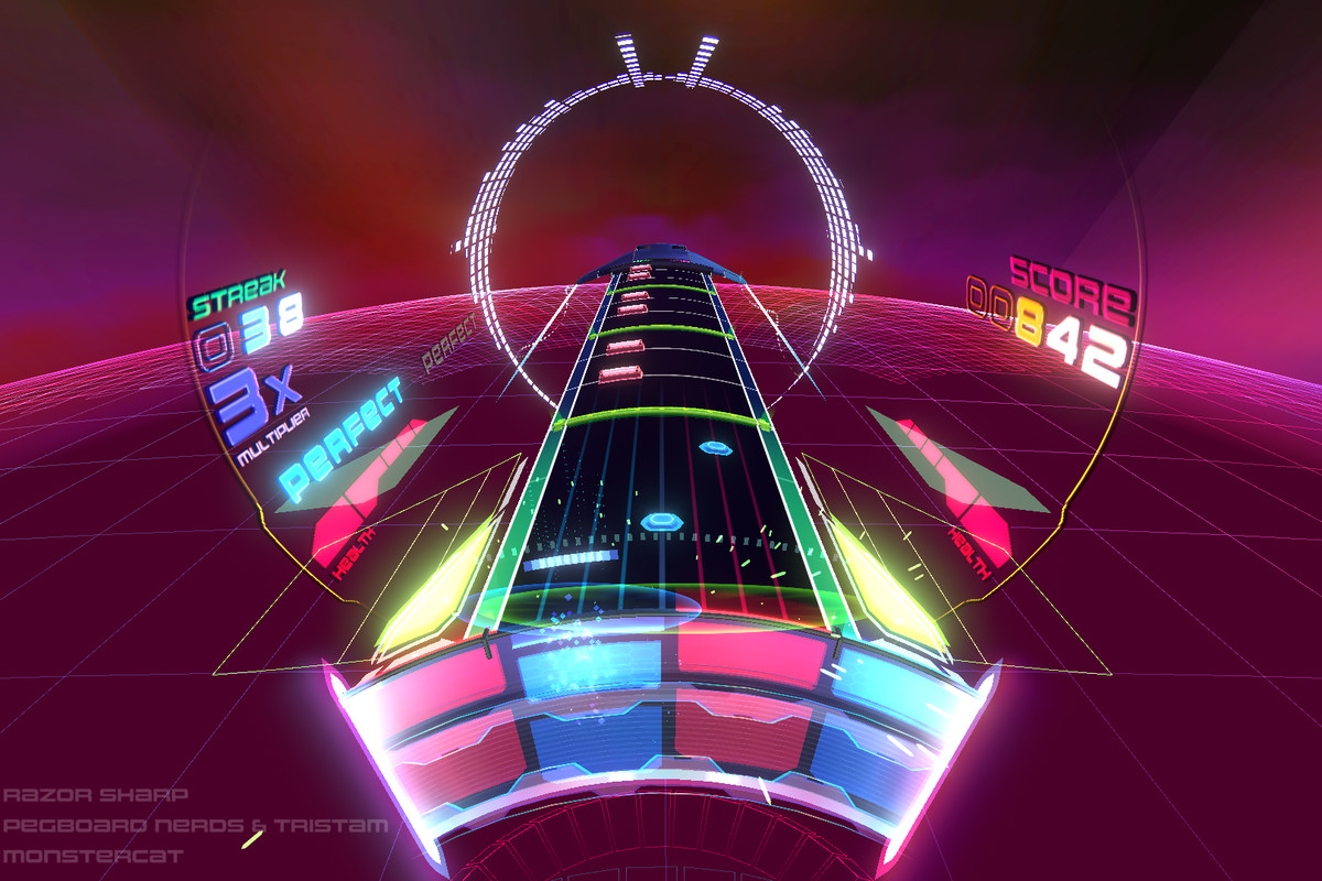 The colorful play field of Spin Rhythm XD