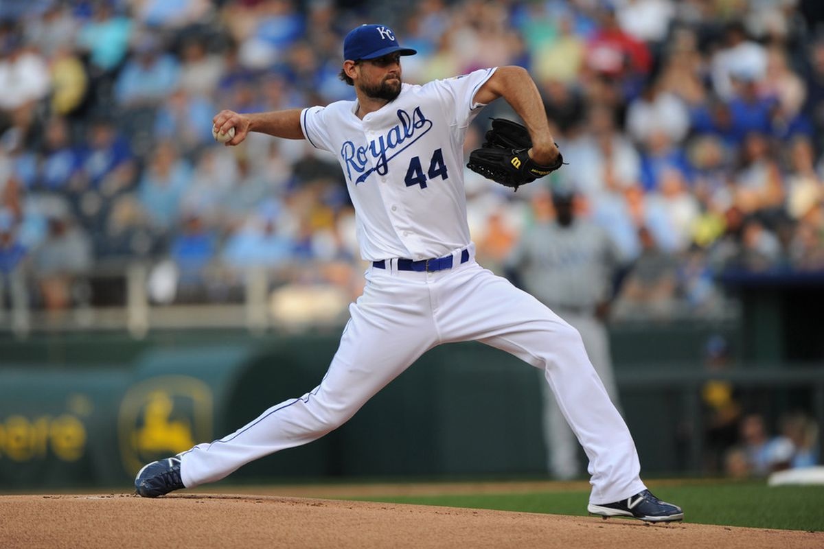 Kansas City, MO, USA; Kansas City Royals pitcher Luke Hochevar (44) delivers a pitch against the Tampa Bay Rays during the first inning at Kauffman Stadium.  Mandatory Credit: Peter G. Aiken-US PRESSWIRE