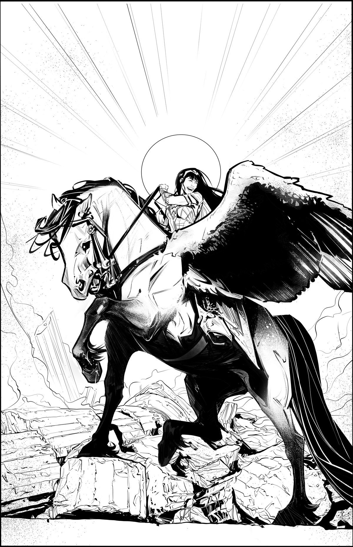 Yara Flor/Wonder Woman triumphantly astride her winged horse, Jerry.