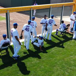 Cubs relievers in the pen before the game