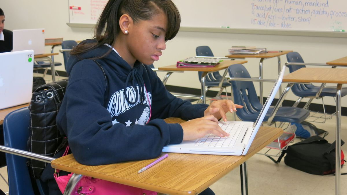 Colonial Middle school student takes the practice online writing assessment last week.