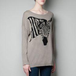"<b>Zara</b> Oversized Zebra Sweater in mink, <a href=""http://www.zara.com/webapp/wcs/stores/servlet/product/us/en/zara-us-W2012/269190/1049928/OVERSIZE%20ZEBRA%20SWEATER"">$59.90</a>"