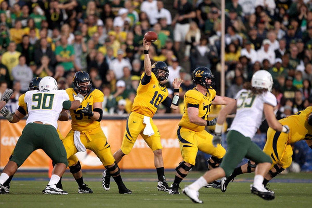 There's a 64 percent chance this pass by Cal quarterback Brock Mansion was incomplete.