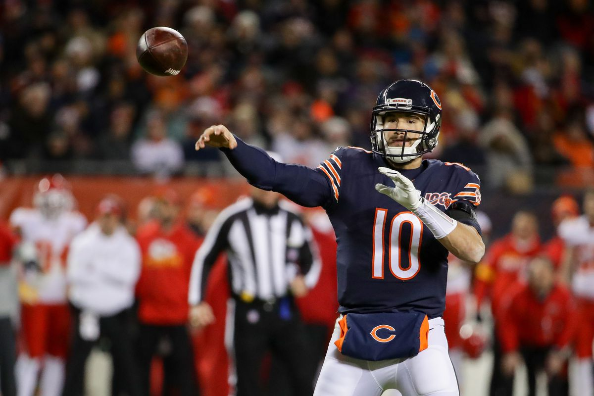 Mitch Trubisky throws against the Chiefs.