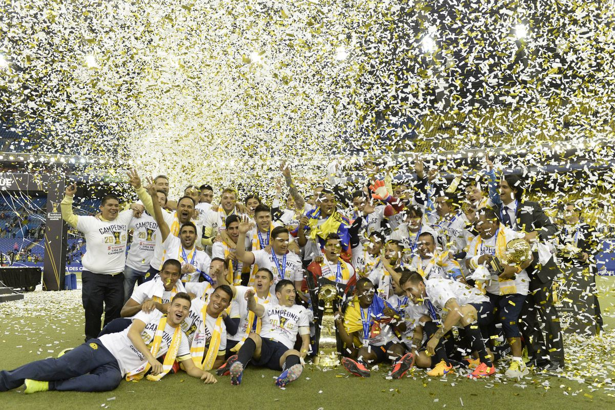 Club America celebrates it's 2014-15 CONCACAF Champions League championship on April 29, 2015. The win gave America their 6th title in the competition.