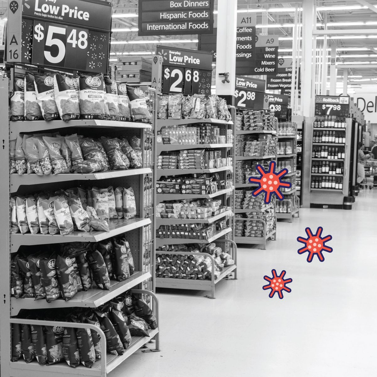 Photo-illustration of end-caps at a Walmart filled with chips and various snacks;
