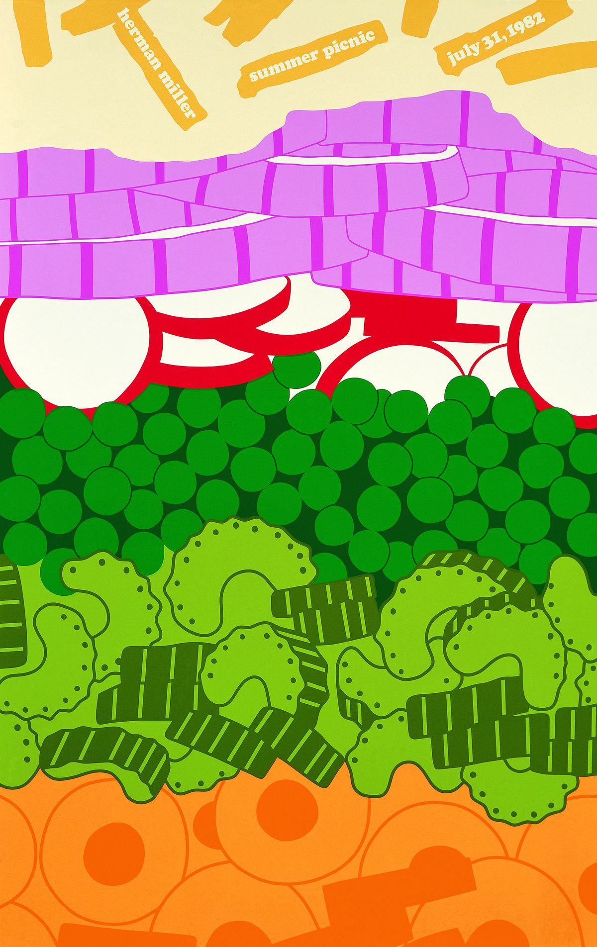 A colorful poster showing the layers of a salad that's advertising Herman Miller's picnic.