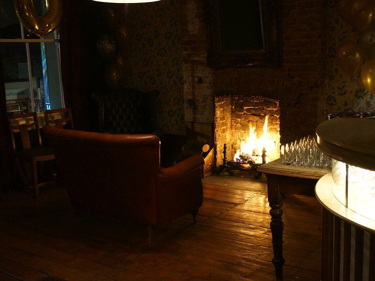 Fireplace at The Palmerston pub restaurant in East Dulwich
