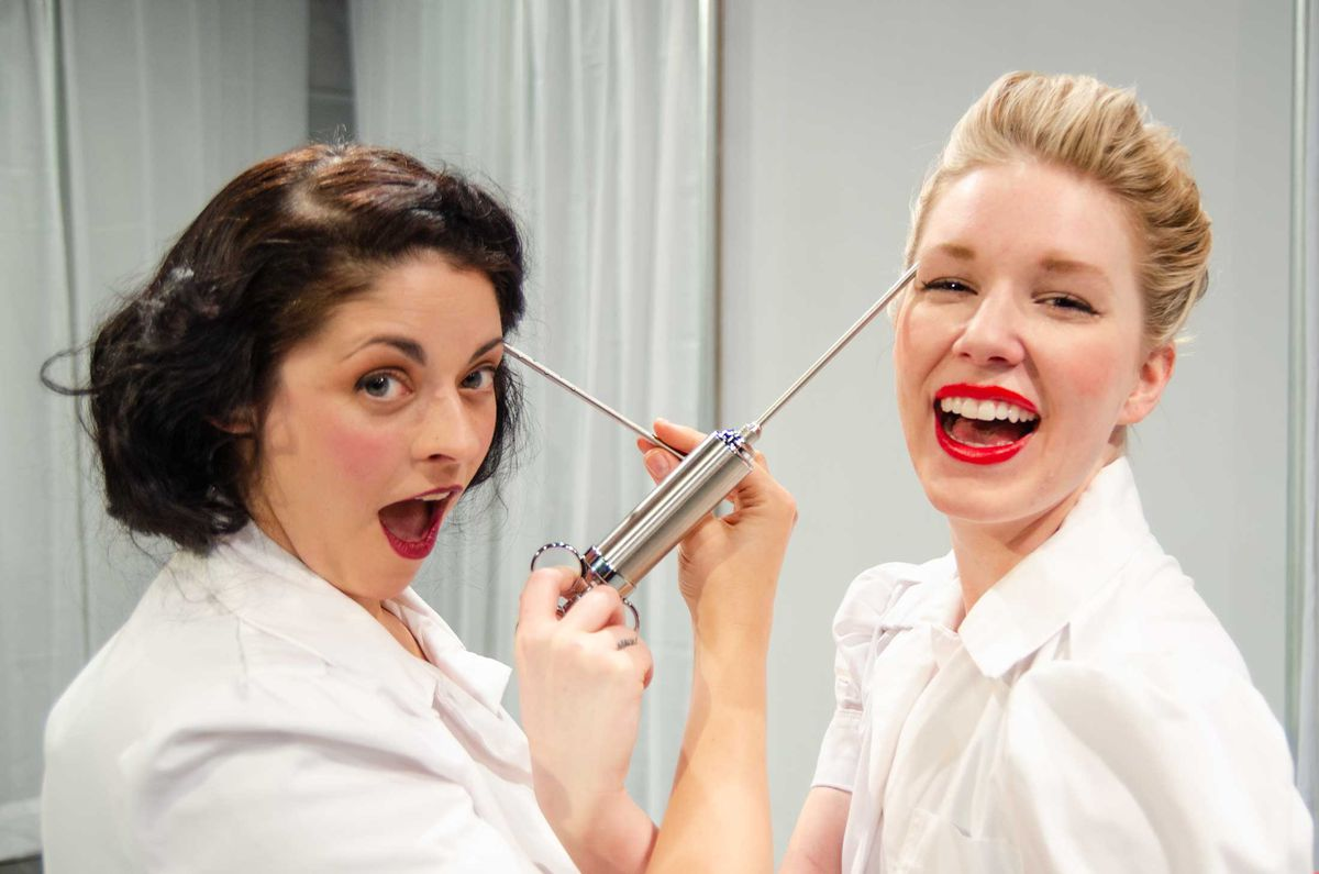 """Ann Sonneville (left) and Abby Blankenship star in """"The Lipstick Lobotomy."""""""