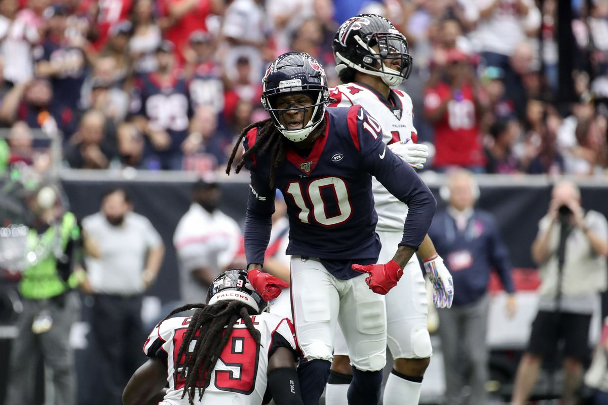 Houston Texans wide receiver DeAndre Hopkins reacts during the second half against the Atlanta Falcons at NRG Stadium.