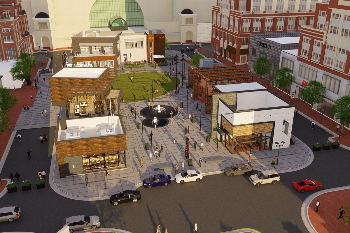 A rendering of the new green space, which is flanked on all sides by restaurant and retail buildings.