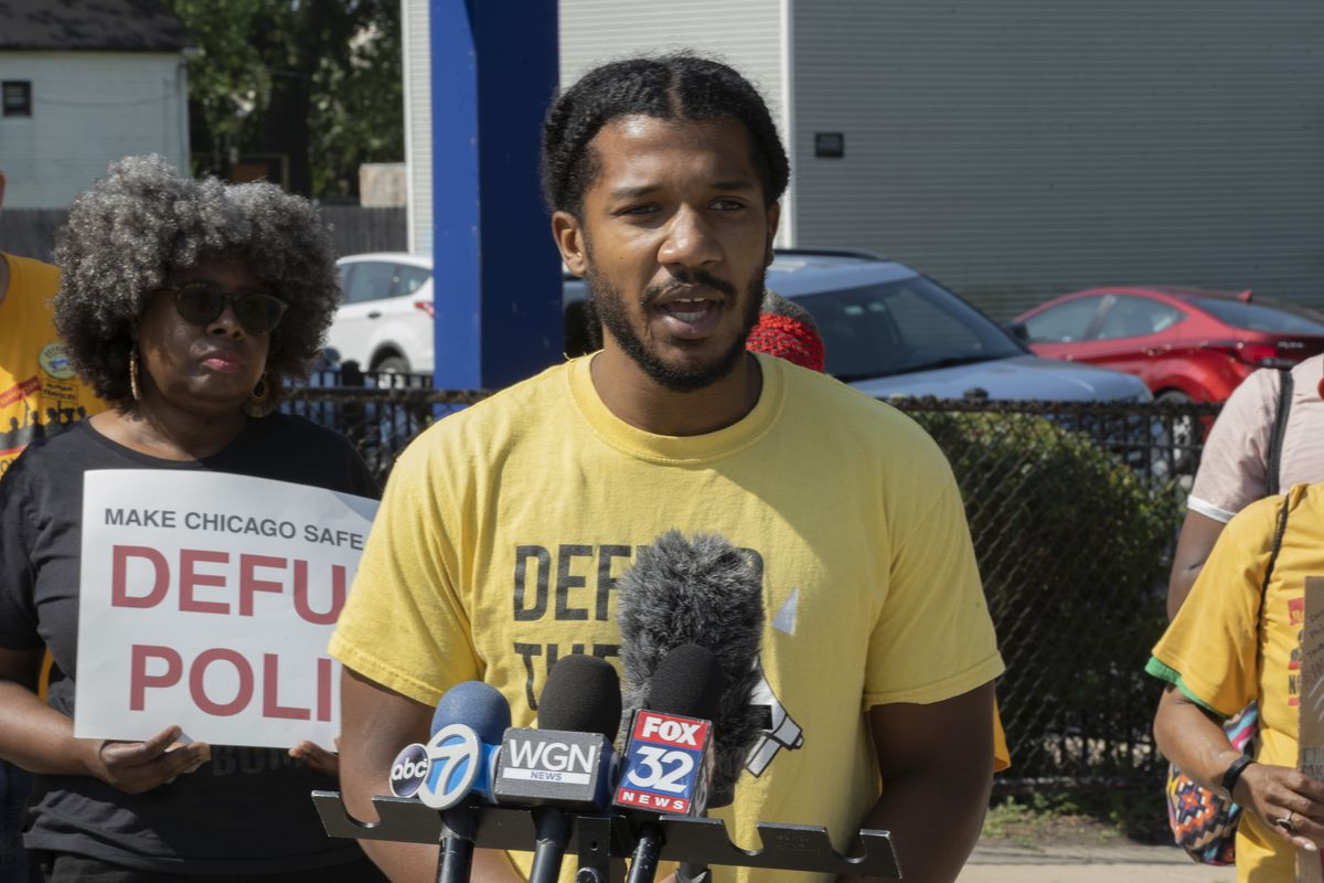 Damon Williams with Defund CPD speaks at a news conference announcing demands for the 2022 city budget. Tuesday, August 3. 2021.