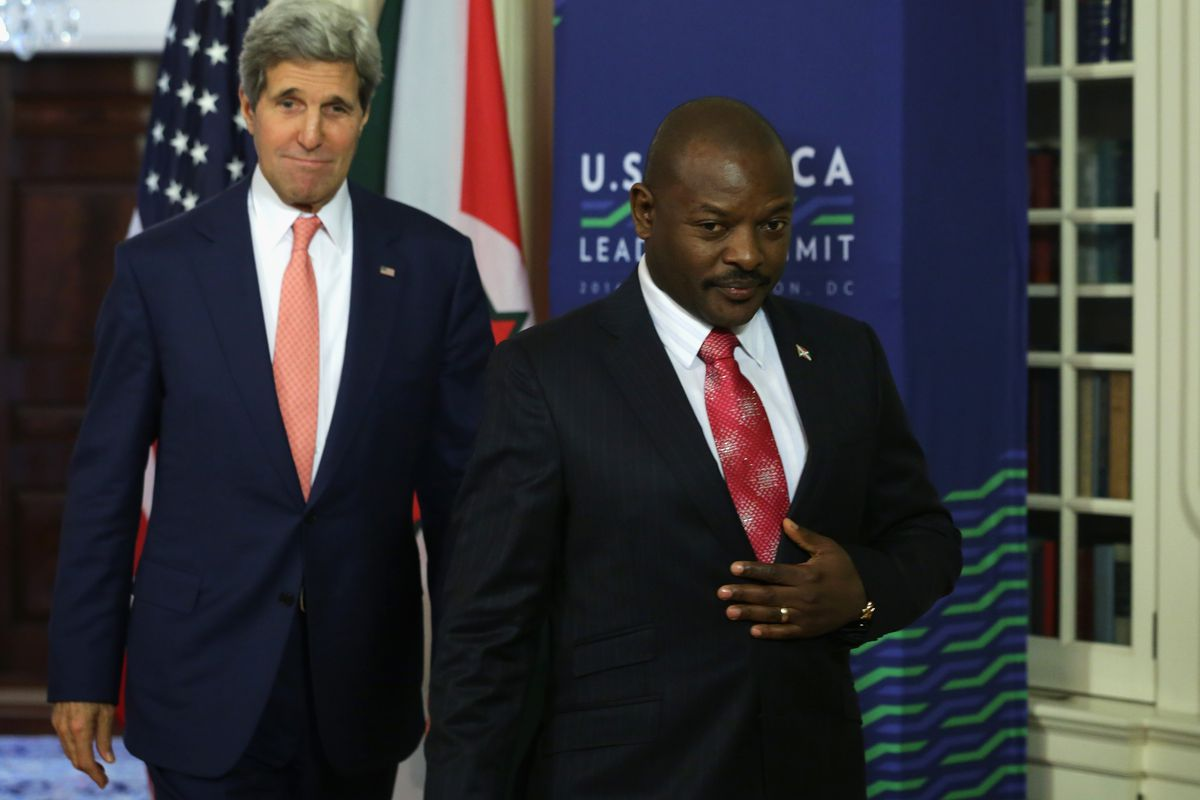 President of Burundi Pierre Nkurunziza and Secretary of State John Kerry.