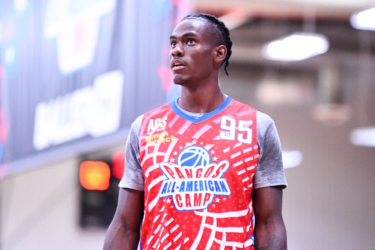 Jalen Duren from Montverde Academy (FL) looks on during the Pangos All-American Camp on June 8, 2021 at the Tarkanian Basketball Academy in Las Vegas, NV.