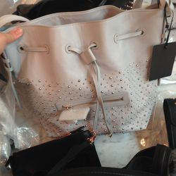 Gray bucket bag, $228