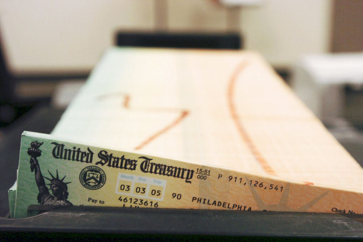 Social security checks wait to be mailed from the U.S. Treasury's Financial Management.