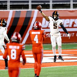 Oregon State Beavers wide receiver Kolby Taylor (5) celebrates a touchdown as Utah and Oregon State play a college football game at Rice Eccles stadium in Salt Lake City on Sunday, Dec. 6, 2020. Utah won 30-24.