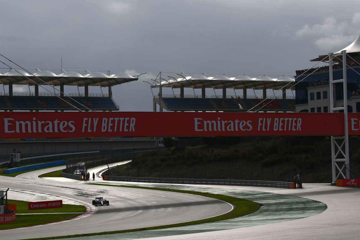 A general view of the track during the Turkish Formula One Grand Prix at the Intercity Istanbul Park circuit in Istanbul on November 15, 2020.