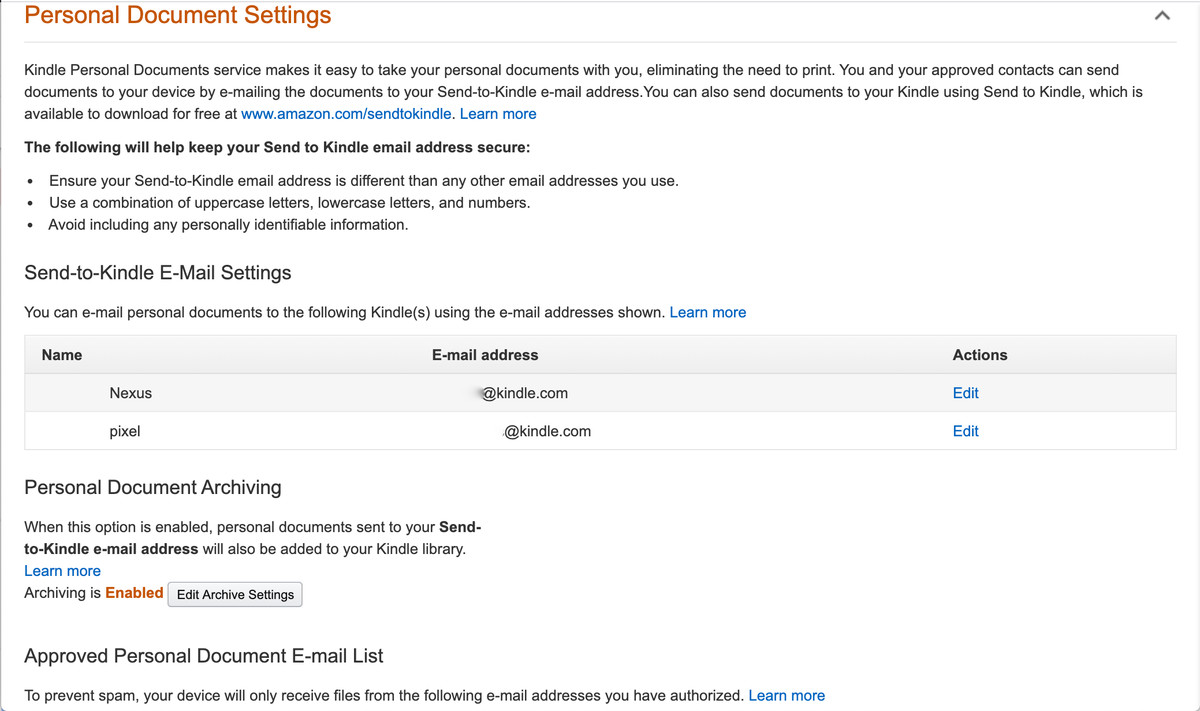 In Amazon's settings, you can find your device's unique Kindle email address.