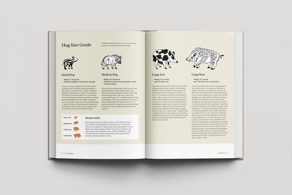 """A two-page book spread titled """"Hog Size Guide"""" with various illustrations of hogs and details on each"""