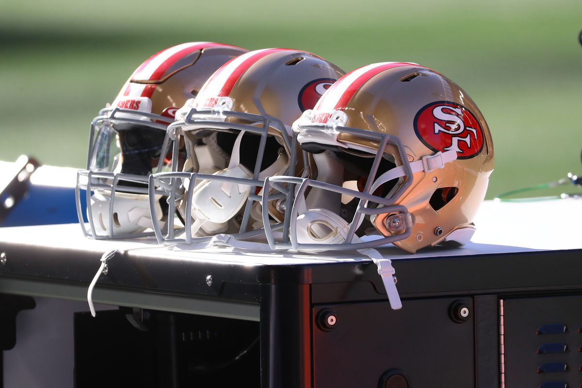 A general view of helmets worn by the San Francisco 49ers against the Seattle Seahawks at CenturyLink Field on November 01, 2020 in Seattle, Washington.