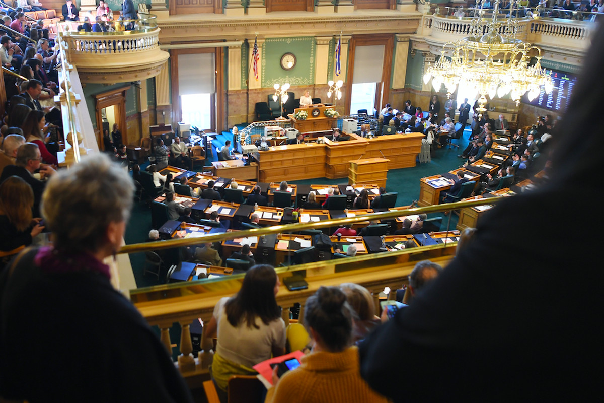 Speaker of the House K.C. Becker addresses the Colorado House of Representatives on opening day, Jan. 8, 2020.
